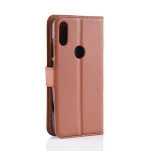 Stand PU kožené peňaženkové puzdro na Xiaomi Redmi Note 7 - hnedé - 3