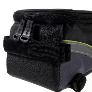 Prostorná brašna na kolo pro mobilní telefony do rozměru 158,1 x 78 x 7,1 mm - zelený lem - 3