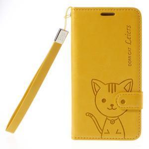 Mačička Domi PU kožené puzdro na Samsung Galaxy A5 - žlté - 3