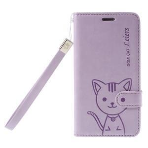Mačička Domi PU kožené puzdro na Samsung Galaxy A5 - fialové - 3