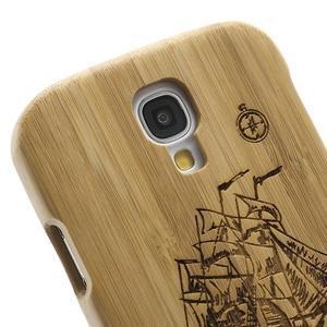 Drevené puzdro rozepínací pre Samsung Galaxy S4 - loď - 3