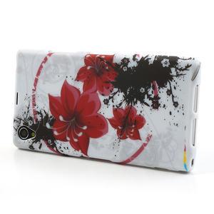 Gélové puzdro pre Sony Xperia Z1 C6903 L39- červený kvet - 3