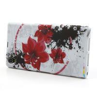 Gélové puzdro pre Sony Xperia Z1 C6903 L39- červený kvet - 3/5