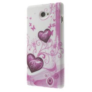 Gélové puzdro na Sony Xperia M2 D2302 - dvě srdce - 3