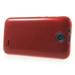Gélové kartáčované puzdro na HTC Desire 310- červené - 3