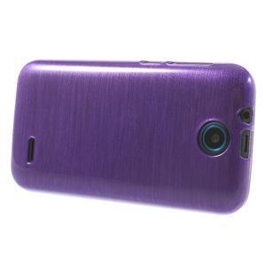 Gélové kartáčované puzdro na HTC Desire 310- fialové - 3