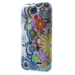 Gélové puzdro na HTC Desire 310- farebné květy - 3