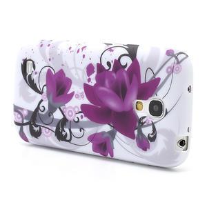 Gélové puzdro pro Samsung Galaxy S4 mini i9190- fialové kvety - 3