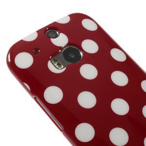 Gélové-PUNTÍKY puzdro pre HTC one M8- červené - 3