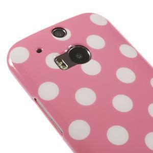 Gélové-PUNTÍKY puzdro pre HTC one M8- růžové - 3