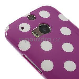Gélové-PUNTÍKY puzdro pre HTC one M8- fialové - 3