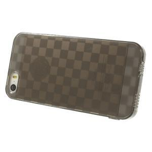 Gel-kostkaté puzdro pre iPhone 5, 5s- sivé - 3