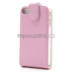 Flipové puzdro pre iPhone 4, 4s- svetleružové - 3