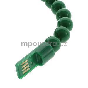 Korálkový náramek micro USB, zelený - 3
