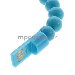 Korálkový náramek micro USB, světle modrý - 3