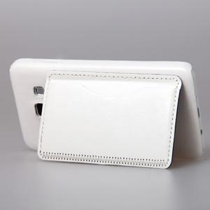 Kožený/plastový kryt se stojánkem na Samsung Galaxy A3 - biely - 3