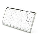 Drahokamové puzdro pre HTC Desire 600- biele - 3/4