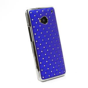 Drahokamové puzdro pre HTC one M7- modré - 3