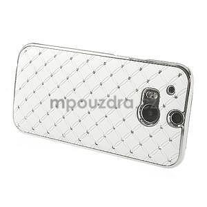 Drahokamové puzdro pre HTC one M8- biele - 3