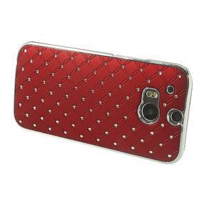 Drahokamové puzdro pre HTC one M8- červené - 3