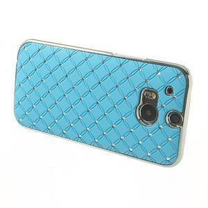 Drahokamové puzdro pre HTC one M8- svetlo modré - 3