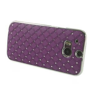 Drahokamové puzdro pre HTC one M8- fialové - 3