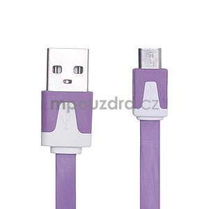 Nabíjecí, prepojovací micro USB kabel, růžový / biely - 3