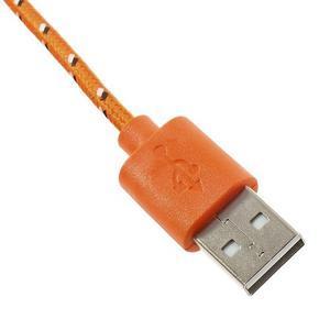 Tkaný odolný micro USB kabel s dlžkou 2m - oranžový - 3