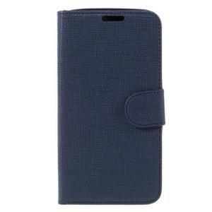 Cloth PU kožené puzdro pre mobil Microsoft Lumia 550 - tmavo modré - 3