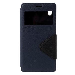 Peněženkové pouzdro s okýnkem pro Sony Xperia M4 Aqua - tmavěmodré - 3