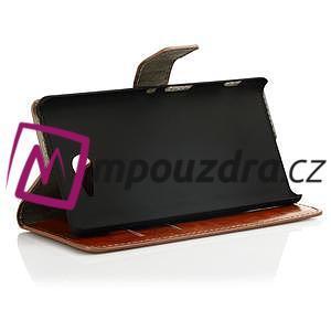 Peňaženkové kožené puzdro na Sony Xperia M2 D2302 - hnedé - 3