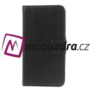 Peňaženkové kožené puzdro na HTC Desire 310- čierné - 3