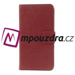 Peňaženkové kožené puzdro na HTC Desire 310- červené - 3