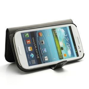 Peňaženkové puzdro pre Samsung Galaxy S3 i9300- čierné - 3