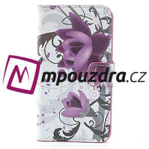 Peňaženkové puzdro pre Samsung Galaxy Note 3- fiaolový kvet - 3
