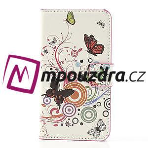 Peňaženkové  puzdro pre Samsung Galaxy Note 3- farebné motýle - 3