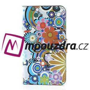 Peňaženkové puzdro pre Samsung Galaxy Note 3- farebné kvety - 3