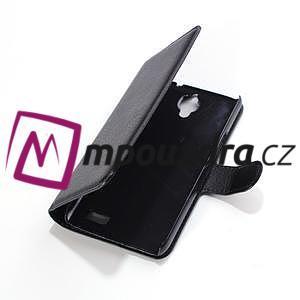 Peňaženkové kožené puzdro na Alcatel One Touch Idol OT-6030D- čierné - 3