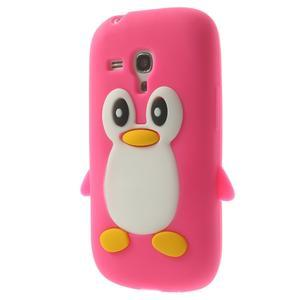 Silikonový tučniak puzdro pre Samsung Galaxy S3 mini i8190- ružový - 3