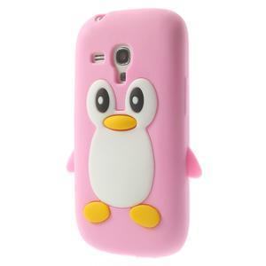 Silikonový tučniak puzdro pre Samsung Galaxy S3 mini i8190- svetloružový - 3