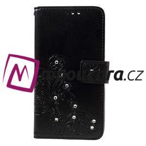 Floay PU kožené puzdro s kamienky na mobil Honor 8 - černé - 3