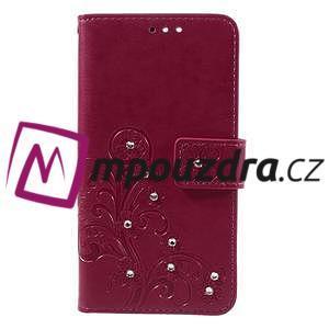 Floay PU kožené puzdro s kamienky pre mobil Honor 8 - rose - 3