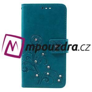 Floay PU kožené puzdro s kamienky na mobil Honor 8 - modré - 3