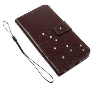 Floay PU kožené puzdro s kamienky na mobil Honor 8 - hnědé - 3