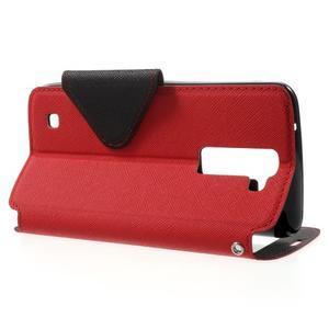 Diary PU kožené puzdro s okienkom na LG K8 - červené - 3
