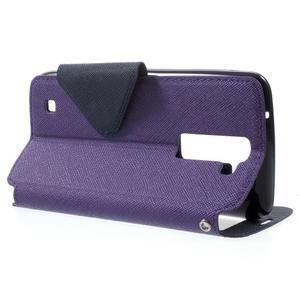 Diary PU kožené puzdro s okienkom na LG K8 - fialové - 3