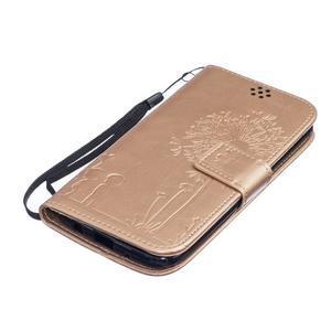 Dandelion PU kožené pouzdro na mobil LG K8 - zlaté - 3