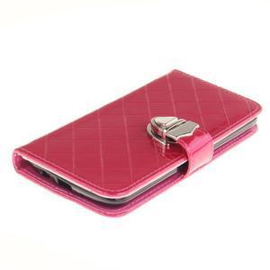 Luxusní PU kožené puzdro s přezkou na LG K8 - rose - 3
