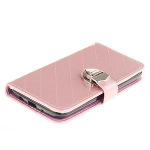 Luxusní PU kožené pouzdro s přezkou na LG K8 - růžové - 3