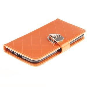 Luxusní PU kožené puzdro s přezkou na LG K8 - oranžové - 3